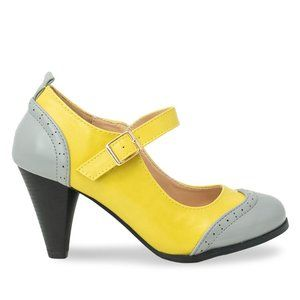 Women's Grey/Mustard Two Tone Mary Jane Retro Pump